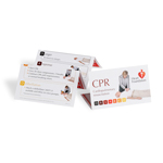 CPR explained in step-by-step instructions in this handy wallet-card. CPR action plan side one, Heart attack warning signs on reverse.
