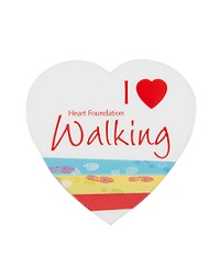 Show your love of walking with one of our heart shaped I love walking badges.<br />* PVC laminated<br />* safety pin clip<br />* 52mm at widest point