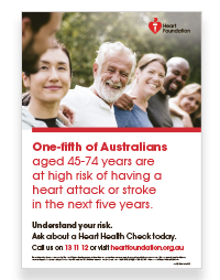 Informs on the crucial risks areas for heart health, including blood pressure and cholesterol and why it is important to have a heart health check.Health professionals may order up to 5 FREE copies.