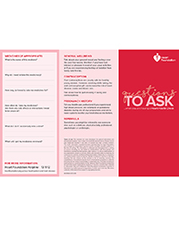 Questions to ask your health professional when you are having a heart health check.