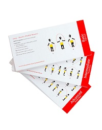 Improve your skipping skills repertoire. 3 skill levels covered: Basic, intermediate and advanced levels, 61 cards per set.