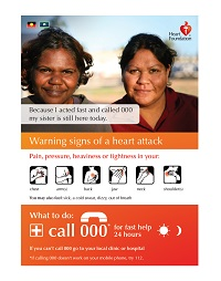 This poster specifically designed for remote Aboriginal communities identifies some of the more common heart attack symptoms and provides information on what to do if you recognise these symptoms. Ideal for display in GP clinics, pharmacies etc.