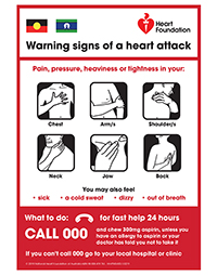 Warning Signs of heart attack action plan, Aboriginal & Torres Strait Islanders. Order a FREE copy now.Health professionals may order up to 50 FREE copies. For orders over 50 copies please call 13 11 12
